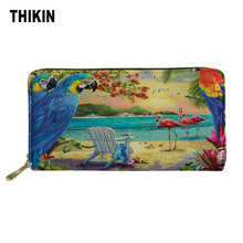 THIKIN Parrots Print Women Long Wallet and Purse Casual Card Holder