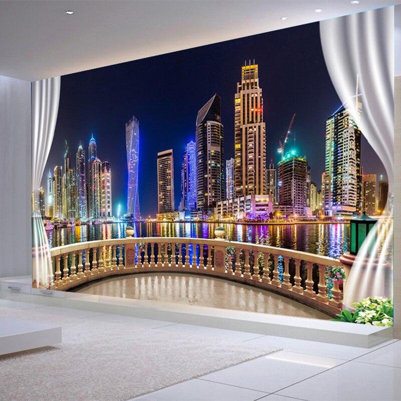 Foto Papel De Parede 3D Da Noite Da Cidade Paisagem Varanda Fundo Pintura Mural Da Parede Quarto Sala de estar Home Decor Papel De Parede Paisagem 3D