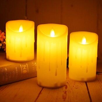 Пластиковые светодиодные свечи со слезоточивым капельным покрытием, рождественские/Хэллоуин свечи, свадебные декоративные, наружные свет...