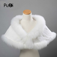 SRA002 Genuine Winter Rex rabbit fur /fox fur Shawl Cape Stole Wrap Poncho Scarf wedding shawl