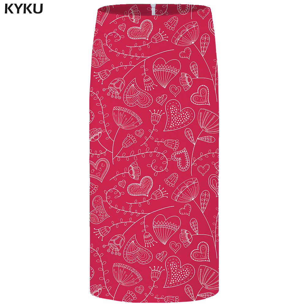 KYKU Pattern Skirts Women White Plus Size Ink Floral Gothic Sexy Pencil Party womens Skirt Funny Knee Length 2018 High Quality