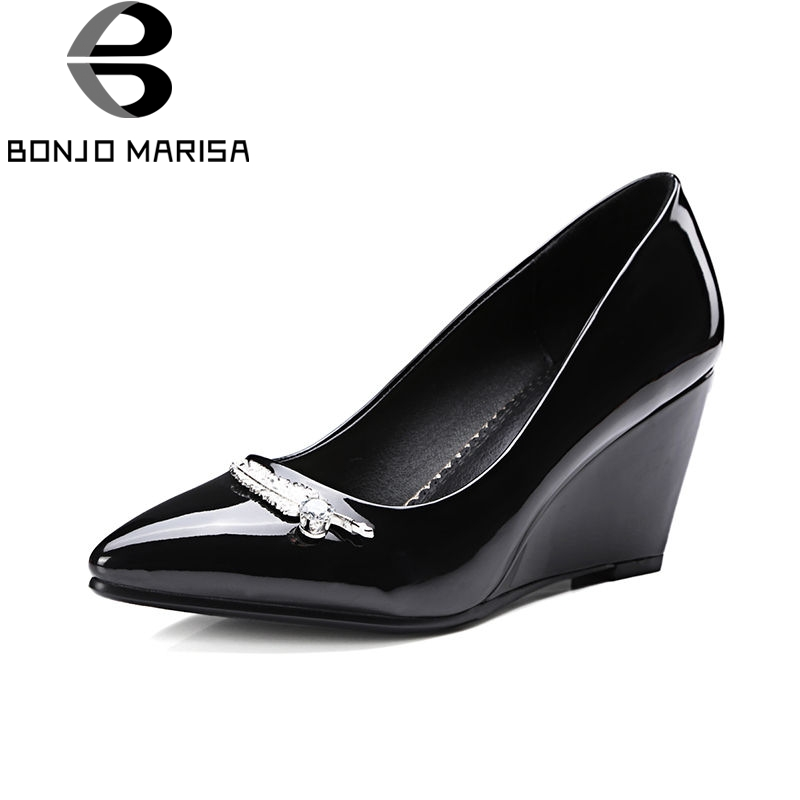 BONJNOMARISA 2018 Spring Autumn Elegant Metal Decoration Women Pumps High Heels Shallow Ol Shoes Woman Big Size 32-42 Footwear siketu 2017 free shipping spring and autumn women shoes fashion sex high heels shoes red wedding shoes pumps g107