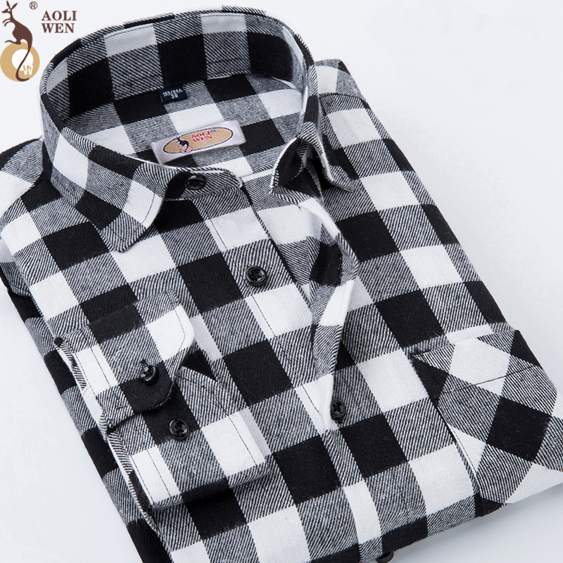 Aoliwen 2018 shirt brand men Long-Sleeved sleeve Gray White Plaid hoodie fashion Shirt  mens shirts Size M-5Xl