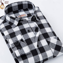 Aoliwen 2018 shirt brand men Long-Sleeved sleeve Gray White Plaid hoodie fashion Shirt  mens shirts Size M-5Xl