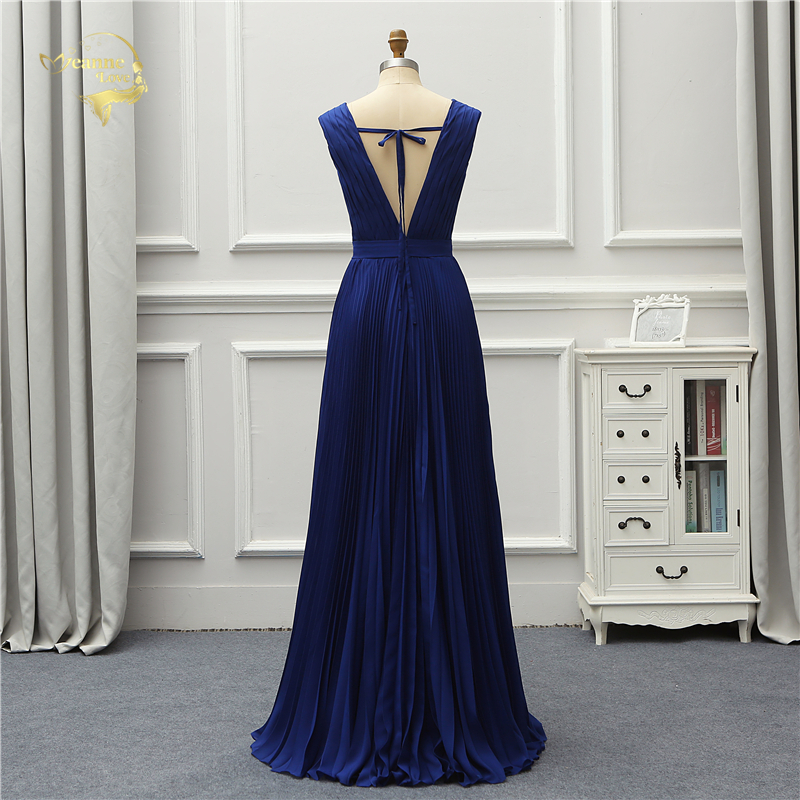 Vintage Royal Blue V Neck Backless Long Evening Bridesmaid Dress