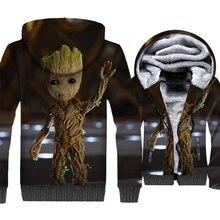 I Love Groot Jacket Cute Hoodie Men Super Hero Sweatshirt 2018 Winter Thick Fleece Warm Zip up 3D Print Coat Hip Hop Streetwear цена и фото