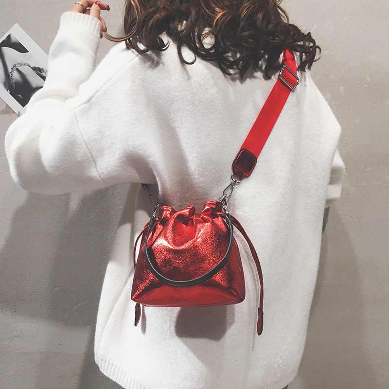 CASMOR Mini Mulheres Balde Sacos De Marcas De Couro Brilhante PU Deigner bolsa de Ombro Pequena Para O Sexo Feminino sacos de Moda Crossbody Bolsa