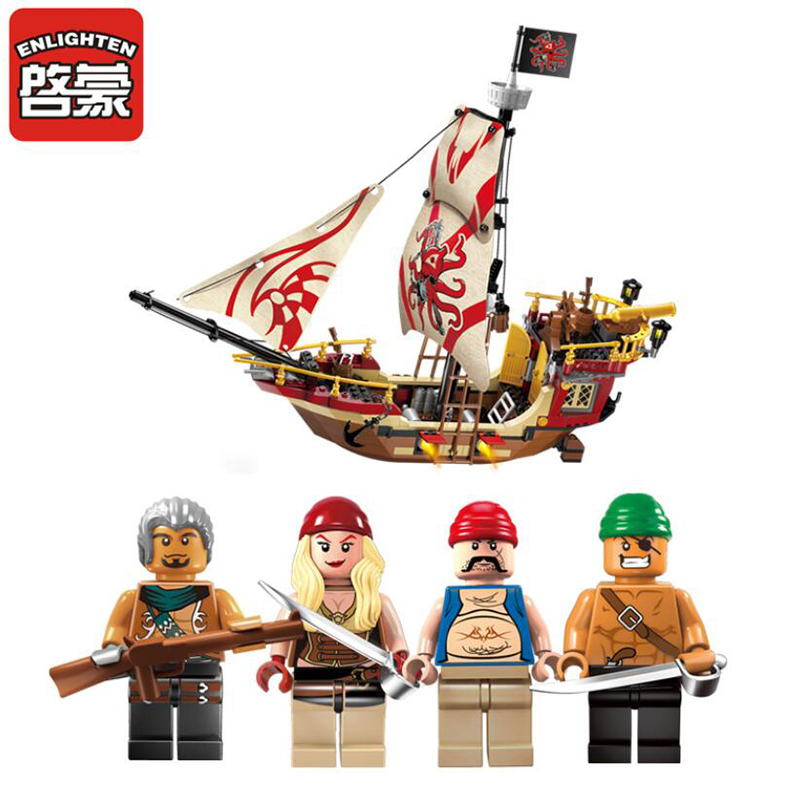 2017 New Enlighten Pirate Series Pirate Ship Building Block Sets Bricks Toys Gifts For Children new bricks 22001 pirate ship imperial warships model building kits block briks toys gift 1717pcs compatible 10210