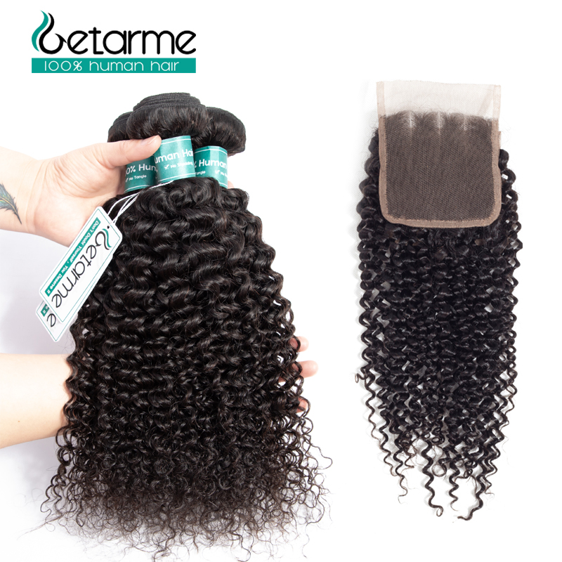 Malaysian Human Hair Bundles With Closure Non Remy Kinky Curly Hair With Closure Natural Color tissage