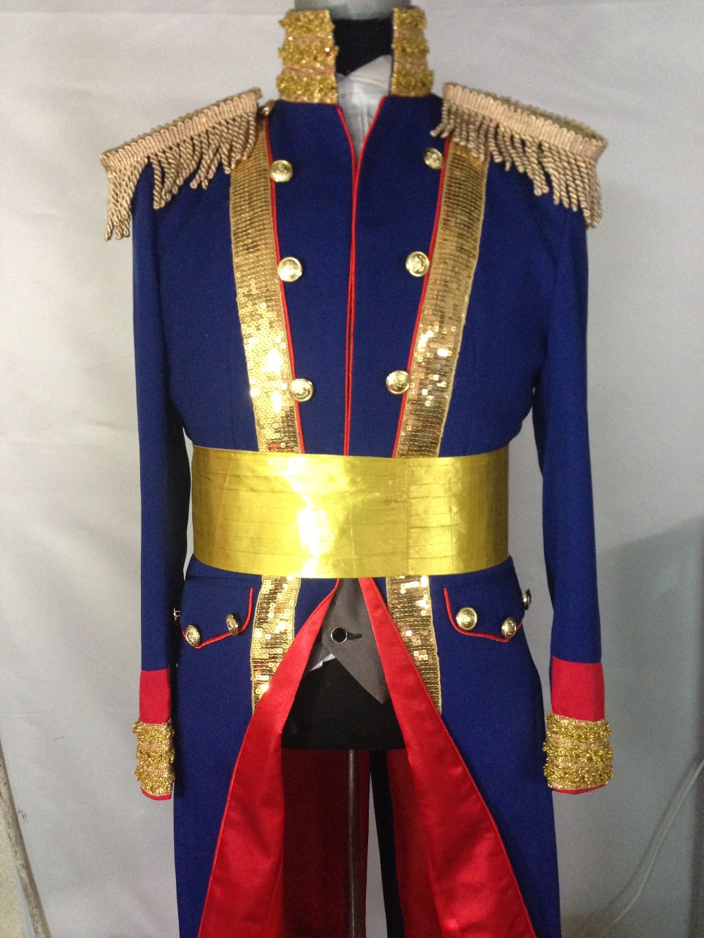100% real navy sequined swallowtail magician jacket/party/stage performance/this is only jacket/can customs making