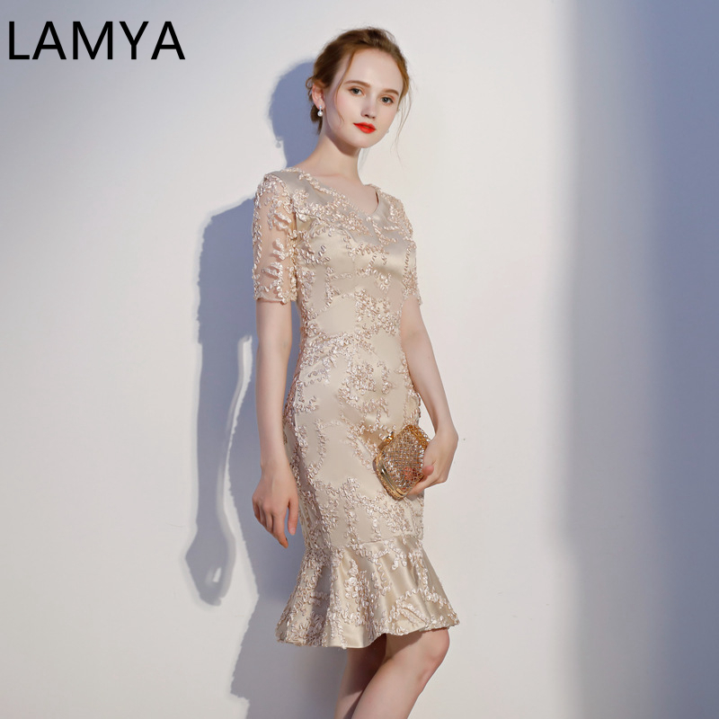 LAMYA Mermaid Prom Dress  Elegant Contrast Color Evening Party Dresses Mermaid Special Occasion Women Dress Summer 2019 Sexy