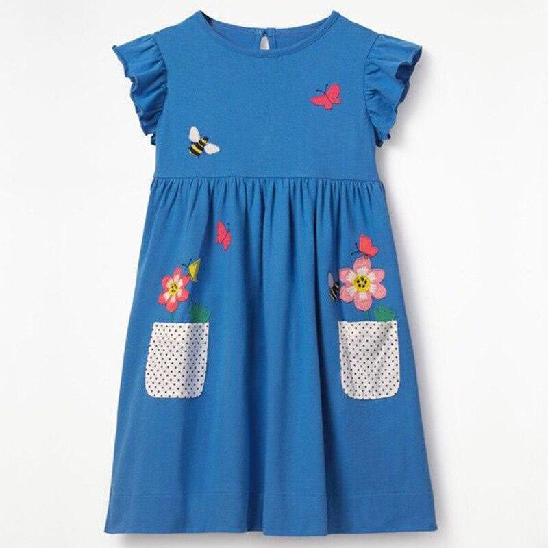 Girls Summer Dress Wear Casual Princess Round Neck Printed Cotton