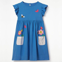 Girls Summer Dress Wear Casual Princess Round Neck Printed Cotton