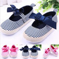Baby  Girls Infant Stripe Soft Bowknot  Baby Casual Shoes For Age 3-12M