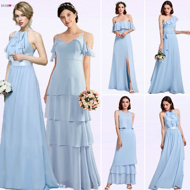 Ever Pretty Women Elegant Sexy Long   Bridesmaid     Dresses   Spring Chiffon A Line Blue Formal Wedding Party Gowns Vestido Gala