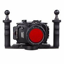 EACHSHOT 40m 130ft Waterproof Underwater Diving Camera Case For Sony A5000 16-50mm + Two Hands Aluminium Tray + 67mm Red Filter