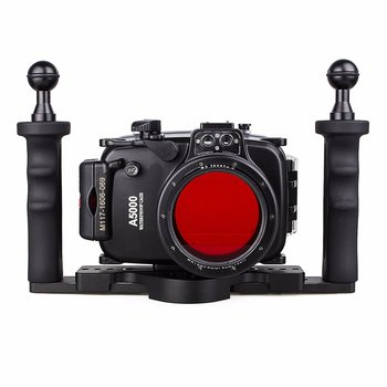 Meikon 40m 130ft Waterproof Underwater Diving Camera Case For Sony A5000 16-50mm + Two Hands Aluminium Tray + 67mm Red Filter