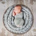 Fotografia bebê recém-nascido adereços fundo de lã feitas à mão cobertor do bebê cores sólidas torção trança cesta stuffer 4 m 250g