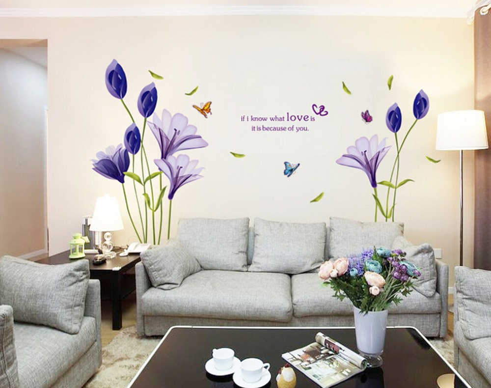 New Fashion Purple Tulips Flowers Wall Stickers For Living Room Diy