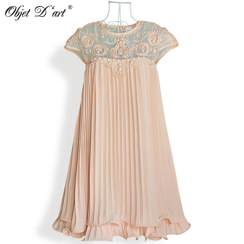 Elegant til kvinder Kjoler til kvinder 2017 Brand Vestidos mode abrikos kort ærmet Blonde plisseret chiffon Broderi Cocktail club ...