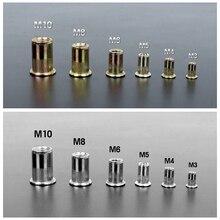 30 шт. M3 M4 M5 M6 M8 M10 Цинк/нержавеющая сталь с плоской головкой заклепки гайки с заклепками