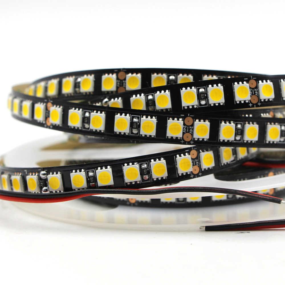 5050 SMD светодиодный светильник 24 в 12 В гибкий светильник 120 светодиодный/м 5 м 600 светодиодный Черный PCB не водонепроницаемый светодиодный RGB белый ленточный светильник