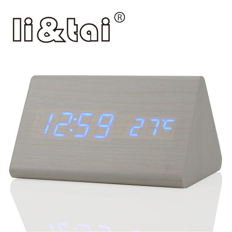fa56736033e Li   Tai Soa Controle de Temperatura Calendário Digital LED Alarm Clock Display  LED Eletrônico de