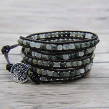 Фотография Boho Smaragdite bead bracelet Yoga bead wrap bracelet leather wrap boho bracelet Natural stone beads Jewelry Green beads Jewelry
