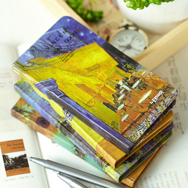 LENWA Classic Van Gogh Series Notebook A6 Vintage Business Carry Small Portable Notebook 1PCS classic notebook vintage