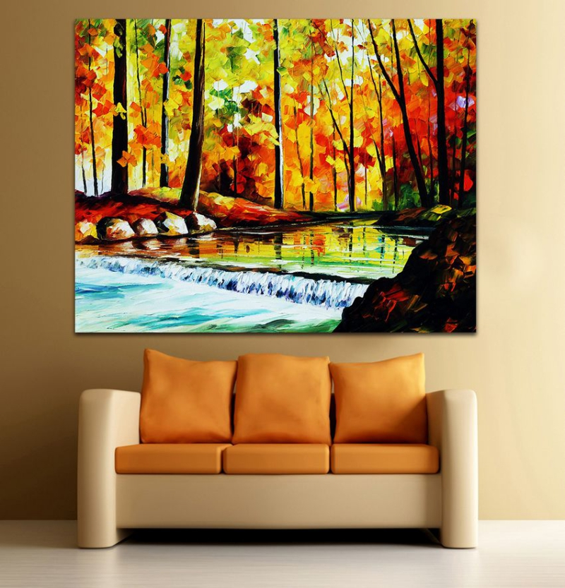 100 Hand painted Palette font b Knife b font Painting Autumn Stream Landscape Canvas Art for