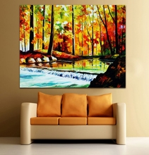 100% Hand-painted Palette Knife Painting Autumn Stream Landscape Canvas Art for Living Room Bedroom