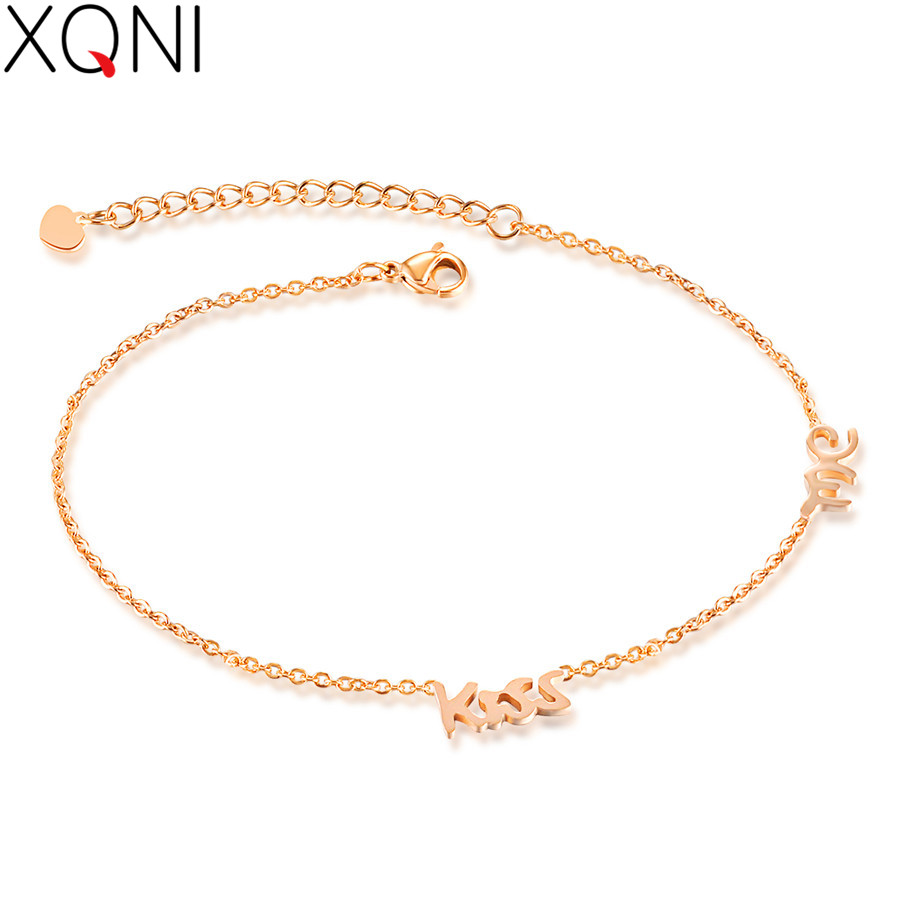 Anklets Enthusiastic Xqni New Fashion Japanese And Korean Personality English Alphabet Anklet Chain Rose Gold Color Gold Jewelry Women Birthday Gift Jewelry & Accessories