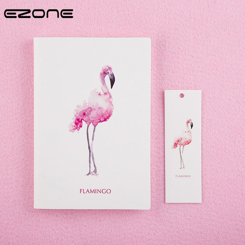 EZONE New Fresh Style Notebook Printed Kawaii Flamingo Note Book Students Notepad Gift Traveler Jounery Diary School Stationery ezone cute cartoon notebook printed kawaii cat note book pu cover with hasp nopated traveler journey diary school office supply