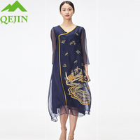 2018 Summer Dresses Women Oraganza Silk Dress Solid Color Embroidery V Neck A Line Style Half