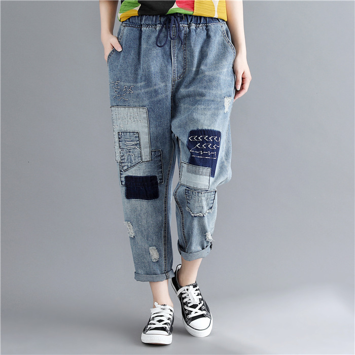Johnature Fashion New Loose Patchwork Denim Pants 2019 Summer Elastic Waist Hole Tie Casual Ankle Length Women Jeans Pants