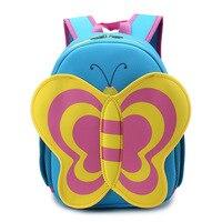 Factory Direct 3D Cartoon Butterfly Waterproof Children Baby Girls Schoobag Kids Animal School Backpack Kindergarten School