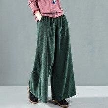 סתיו חורף מכנסיים רטרו Loose נשים מכנסיים מותניים אלסטי כיס מוצק צבע קורדרוי מעורבב נשי מכנסי קזואל 2018