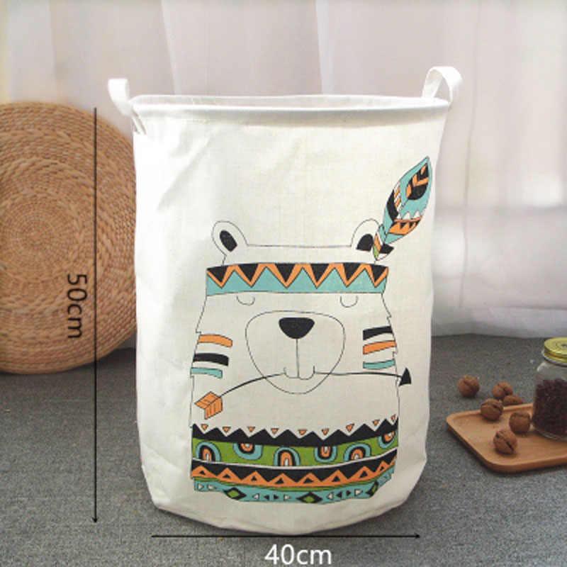 พับกันน้ำ 50*40 ซักรีดตะกร้าของเล่นเด็กกระเป๋าการ์ตูนหมี Barrel ผ้าลินินเสื้อผ้าสกปรกตะกร้า Bra Storage ตะกร้า