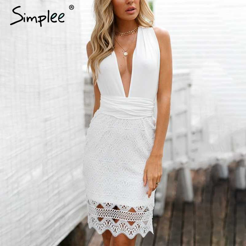 Simplee Bandage white lace dress women Hollow out backless sexy dress party V neck bow sash short summer dress vestidos 2018