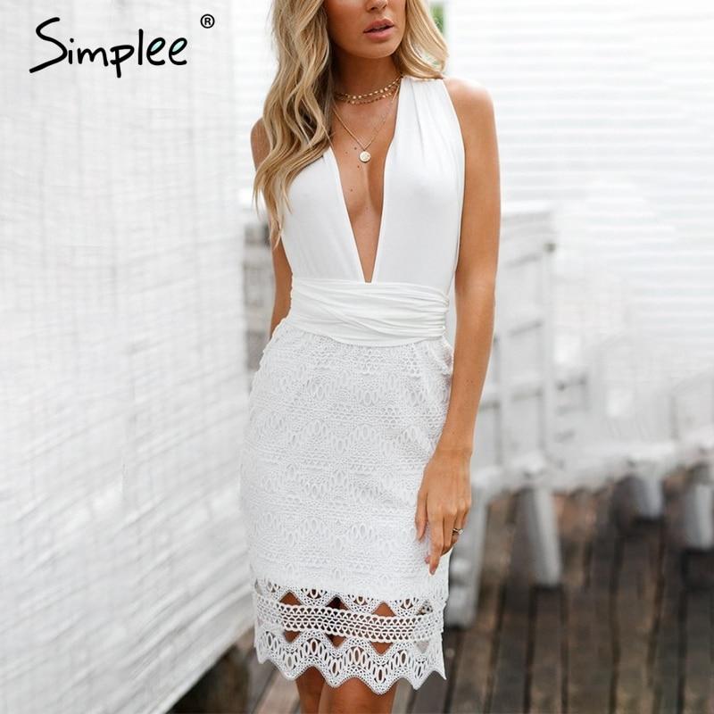 Simplee Бандажное Белое Кружевное Платье женское открытое с открытой спиной сексуальное платье для вечерние с v-образным вырезом с бантом sash ко...