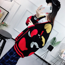 2018 Spring Casual Fashion Fat MM Color Matching Knit Bottoming Large Size Sweater Comfortable Long Coat