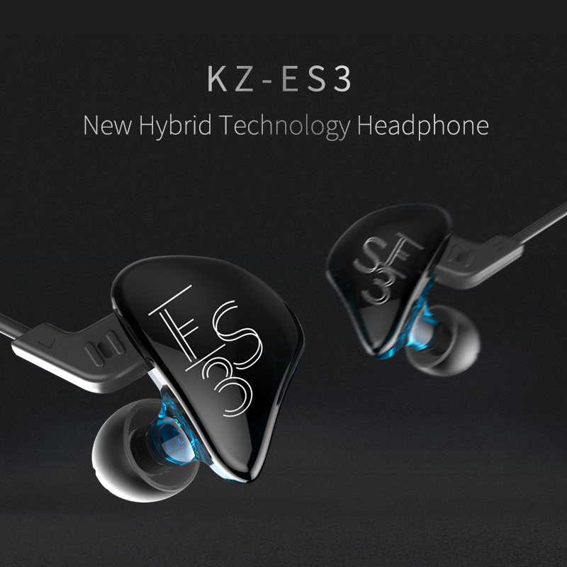 2017 New KZ ES3 DD+BA Hybrid Dynamic And Balanced Armature Earphone HIFI Stereo Sport Suitable Bluetooth Headset 100% Original kz headset storage box suitable for original headphones as gift to the customer