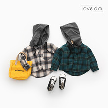 Jacket Plaid Blouse Shirts Tops Hooded-Clothes Spring Long-Sleeve Toddler Baby-Boys-Girls