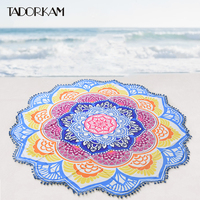Blauw Kwastje Mandala Tapestry Met Bal Indian Lotus Gedrukt Bohemian Strand Sunblock Deken Thuis Muur Opknoping Tapestrie Yoga Mat