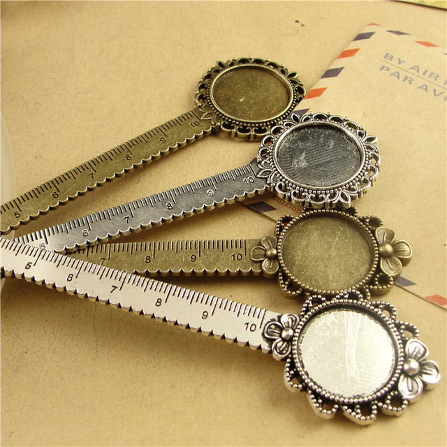 New Flower Bookmark With Ruler Fit Inner 20 Mm Cabochon Base DIY Craft Metal Book Reading