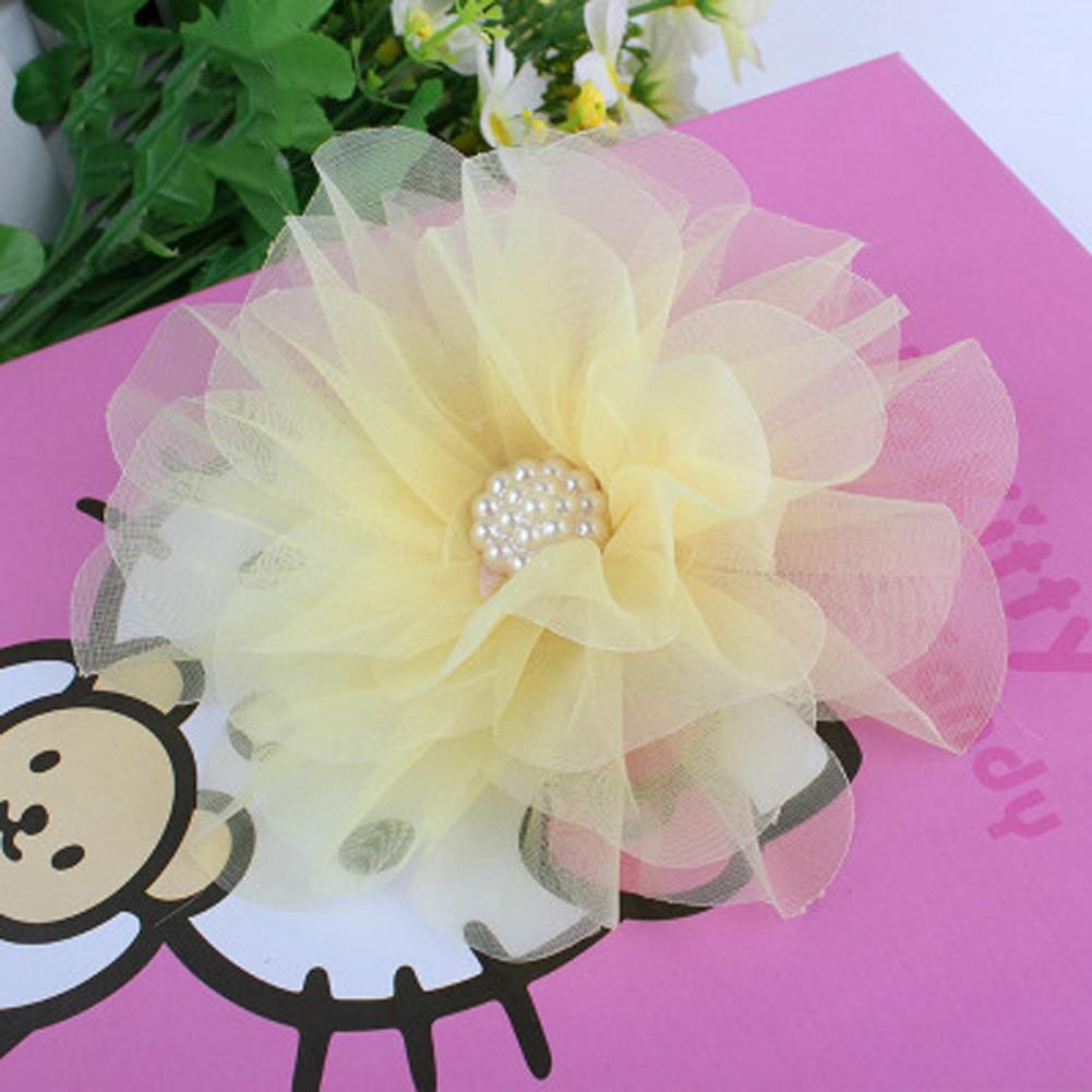 Neue heiße verkauf 1 STÜCK Große Chiffon Blume simulieren Perle Mädchen Haarspangen Kinder Seitlichem Haarnadel Zubehör nettes geschenk