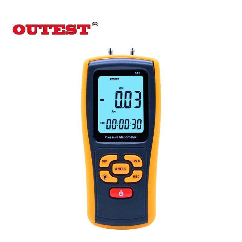 Portable Digital LCD display Pressure manometer GM510 50KPa Pressure differential manometer pressure gauge benetech gm510 2 6 lcd handheld pressure manometer orange black 4 x aaa
