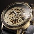 Shenhua марка Старинные Бронзовые Автоматическая Скелет Механические часы Мужчины Аналоговые Наручные Часы повседневная часы эркек кол саати