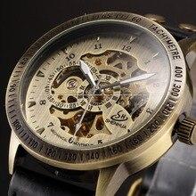 Shenhua marque Vintage Bronze Automatique Squelette Mécanique montres Hommes Analogique Montre-Bracelet En Cuir casual montre erkek kol saati