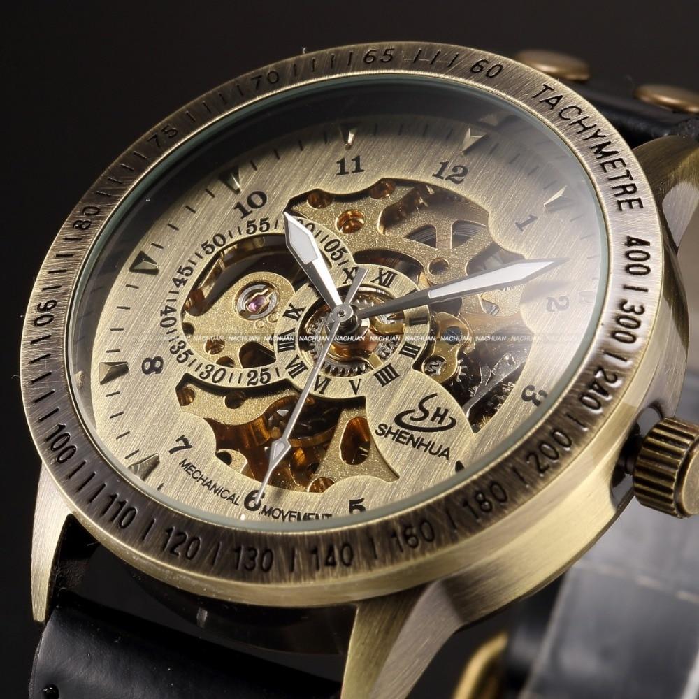 Shenhua brand Vintage Bronze Automatic Skeleton Mechanical watches Men Analog Leather Wrist Watch casual watch erkek kol saati